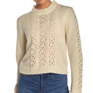Woven Heart S Sweater Cream Open Knit Cropped